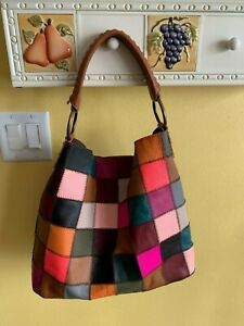 Patchwork Leather Suede Retro Shoulder Hobo Shoulder Bag Lucky Look Multi-Color