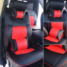 Black/Red Seat Cover For 2009-2018 Dodge Ram 1500 2500 3500 Cushions+Armrest Pad
