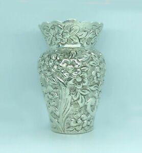 Silver Repousse Floral Cabinet Vase