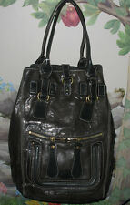 New Authentic CHLOE Brown Patent Leather BAY TOTE Weekender Travel Bag
