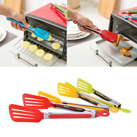 Stainless Steel Silicone Kitchen Cooking Salad Serving BBQ Tongs Handle U