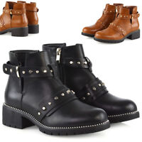 Womens Studded Goth Ankle Boots Cut Out Zip Buckle Ladies Chelsea Fashion Shoes