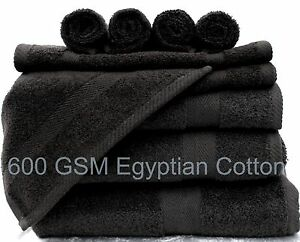 BLACK LUXOR 600GSM 100%  EGYPTIAN COTTON CHOICE OF 3  SIZE TOWEL BALE SETS