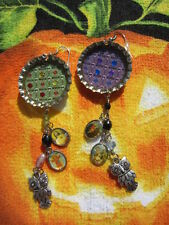 Day Of The Dead Sugar Skull With Charm Dangle Earrings