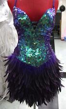 Purple Feather Showgirl Drag Queen Samba Cabaret Latin Salsa Dance Sequin Dress.