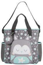 Baby Boom Baby Tote Diaper Bag Gray Mint White Owl Face5 Pockets Pacifier Holder