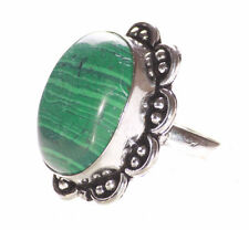 Mesmerizing Oval Green Stone/chrome Flower Embroidered Slim Band Ring(Ns10)