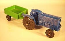 Vinyl line XL Fordson Traktor blau m. grünem Anhänger Gummi Vinyl Rubber #336