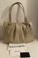 $355 New BRAHMIN Adina Silver Birch Melbourne Genuine Leather Shoulder Bag Croc