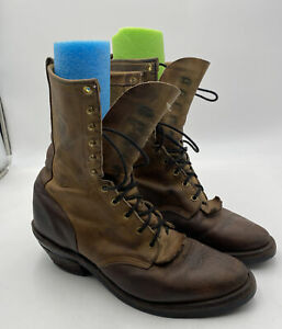 Chippewa Arroyos Brown Leather Lace Up Packer Logger Boots 29405 Men's 10.5 D