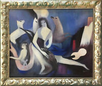 Marie Laurencin WOMAN and DEER Oil Painting Framed 20x24 Canvas **SALE