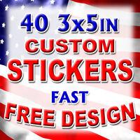 40 3x5 Custom Printed Full Color Outdoor Vinyl Car Bumper Sticker Decal Die Cut