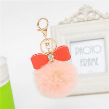 Love Soft Rex Rabbit Fur Ball PomPom Charm Car Keychain Handbag Key Ring Pendant