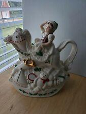Lenox Holiday Santa Collection Elf & Rocking Horse Teapot