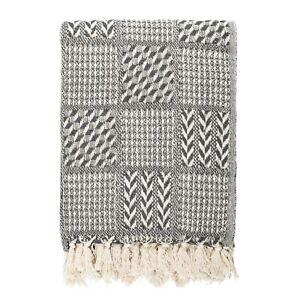 100% Cotton Handloom Herringbone Weave Cotton Throw Grey 125x150cmFREE DELIVERY*