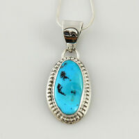 Handmade Navajo Sterling Silver Blue Turquoise Pendant