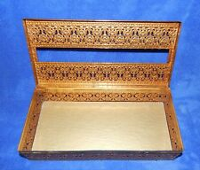 Vtg Gold Tone Filigree Metal Tissue Box Cover Flower Design Hinged Felt Bottom