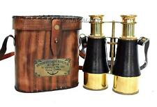 Nautical Brass Victorian Marine Binocular With Leather Box Free Antiquated Gift