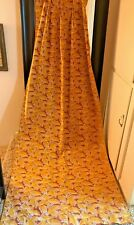 1950s VINTAGE SILK? RAYON? FAILLE TROPICAL LEAF PRINT GOLD DRAPERY PANEL LINED