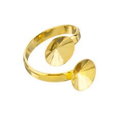 24K Gold Plated 10mm Rivoli Stone Double Ring Base Pack of 1 (J73/2)