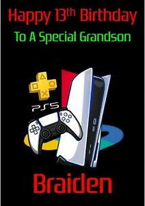 Personalised Birthday card Playstation any name/relation/age