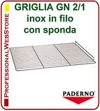 GRIGLIA GN 2/1 INOX con SPONDA RIPIANO RIPIANI GASTRONORM FRIGO FREEZER cm 65x53