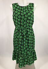 Country Road Green Tomato Apple Print Dress Size 8 Ruffles Sleeveless Flattering