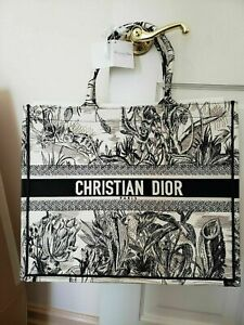 Christian Dior Tote Hand Bag Canvas Monogram Black and White Tote Bag