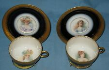 PAIR of ANTIQUE HP PORTRAIT C&S LIMOGES POUYAT #5 COBALT BLUE GOLD ORNATE TRIM
