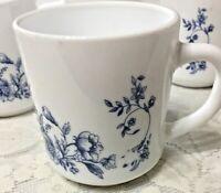 4 Arcopal France Glenwood Milk Glass Coffee Cups or Mugs Blue Floral Vine Design