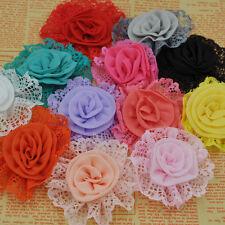 10PCS Large Trim Chiffon Ribbon Bows Flowers Appliques Wedding 85MM F261