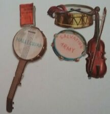 5 Embos Antique Chromo Victorian Scraps. SALVATION ARMY items. Joined  8x8cms