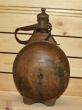 Antique hand made folk art wood wine pitcher bottle