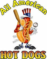 "24"" All American Hot Dogs Decal Concession Food Truck Restaurant Vinyl Menu Sign"