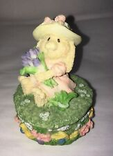 "Cute Girl Bunny in Straw Hat with Flowers Trinket Box 3"" Euc"