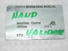 Rare Vintage American Central Airlines Metal Ticket Validation Plate