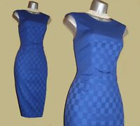 Karen Millen Deep Blue Cotton Blend Casual Office Pencil Wiggle Dress UK10  EU38