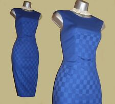 Karen Millen Deep Blue Cotton Blend Casual Office Pencil Wiggle Dress UK10  EU38