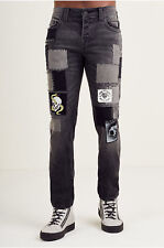 True Religion Men's Rocco Skinny Jeans w/ Patches & Repair in Mended Black Stage