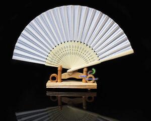Seidenstoff  Fächer Handfächer Lichteffekte  Bambus glatt weiss