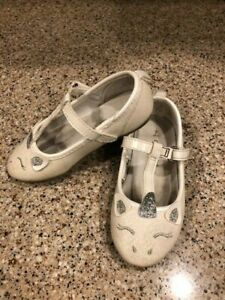 Carters Toddler Girl Emery 7T White Unicorn Dress Shoes
