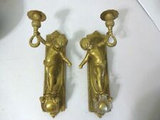 Solid Brass Wall Sconce Pair Cherubs Panel 12� Single Candle