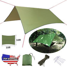 Waterproof Camping Tent Tarp Shelter Hammock Cover Lightweight Rain Fly 10x10 ft