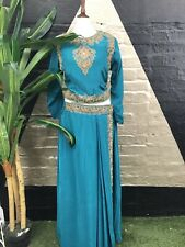 Original Vintage 1980s Blue Ethnic Embroidered Two Piece