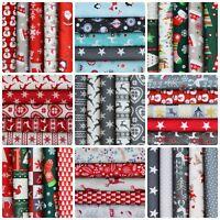 Christmas Fabric Bundles 100% Cotton Red Cream Gold Green Reindeer Snowmen