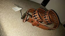 $155.00 WILL LEATHER GOODS MEN'S STUDDED Brown Leather BELT Size 30