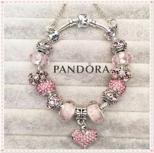 Authentic Pandora Silver Bracelet  with  Pink LOVE HEART European Charms