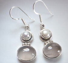 Cultured Pearl and Rose Quartz Ovals 925 Sterling Silver Dangle Earrings