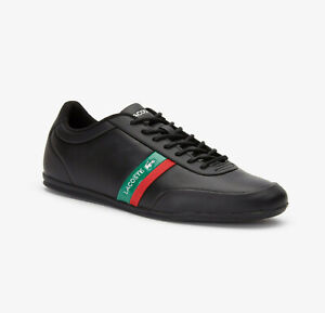 Mens Lacoste Shoes Storda Sport Black Leather Casual Sneakers NEW