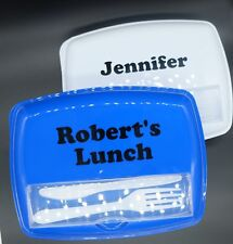 PERSONALISED 3 Compartment Lunch/Meal/Snack Box with Lid + Cutlery Teacher Gift